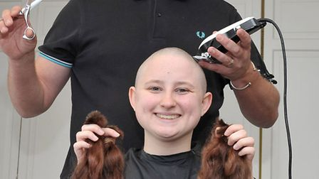 Claire Wilde having her head shaved for charity at Atrium Club Ely. Hair stylist David Green. Pictur