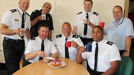 Danny's cake went down well with his colleagues. Picture: CAMBS FIRE.