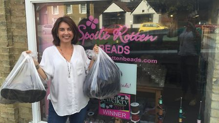 Juliet Browse with some of the goods donated for Calais refugees