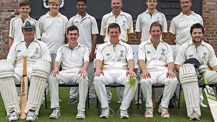 Chatteris 1st XI: Back row (from l to r): Luke Parnell, Michael Saunders, Gugan Kupendwran, Andy Woo
