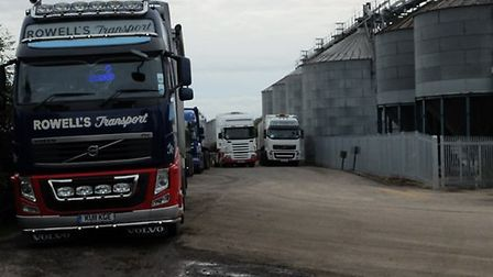 Lorries at the public byway outside Fengrain