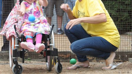 Maya Ratcliffe joins in the fun at the petanque day