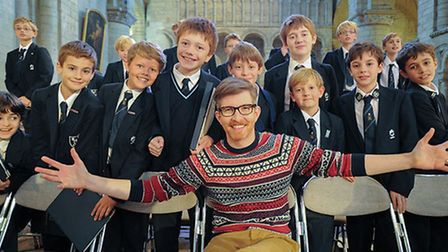 Ely choristers with TV's Gareth Malone
