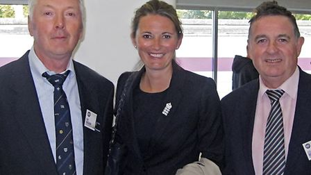 Award winners Les Mills and Pat Ringham with England Women's cricket captain Charlotte Edwards