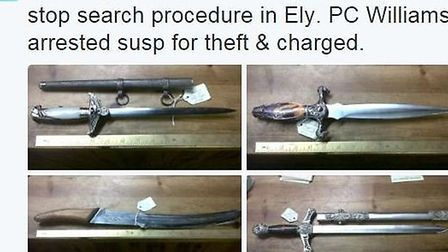 Alarming items recovered in stop search procedure in Ely