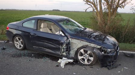 One of the cars involved in a collision near Chatteris yesterday afternoon