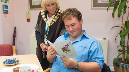 5th Oct 2015: Fairfax Court, Ely. Mayor Lis Every with Jamie Setchell
