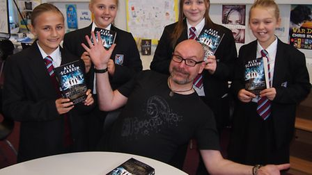 Author, Alex Scarrow, with students from Cromwell school