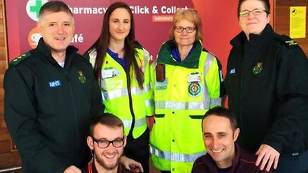Flashback to March as Tom Knights, left and Malcolm West from Sainsburys, receive the defibrillator