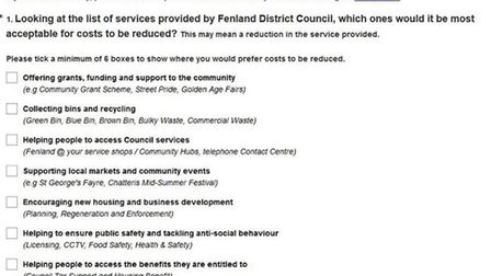 Norfolk residents have been sent a survey on future spending by Fenland Council