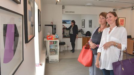 Refurbished Babylon Gallery, Ely, visitors (l-r) Sharon Hellyer, and Olga Shields, from Ely.