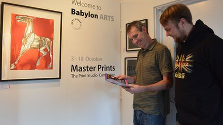 Refurbished Babylon Gallery, Ely, staff (l-r) Nathan Jones, and Lowry Spry,