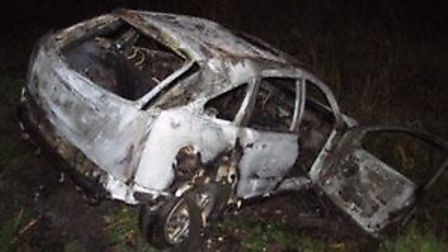 A car which was found alight in Farcet, Huntingdonshire