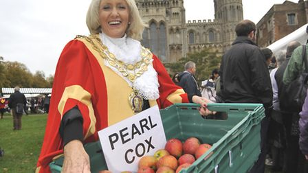 Ely Apple Day, Ely Mayor Lis Every, with some of the apples on sale