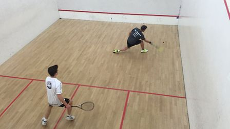 Ben Mitchell in action for Ely Squash Club