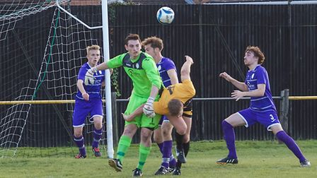 Action from March Town United Reserves v Wisbech St Mary Reserves. Picture: BARRY GIDDINGS.