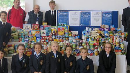 Wisbech Grammar School with their haul of donated food for the Wisbech food bank