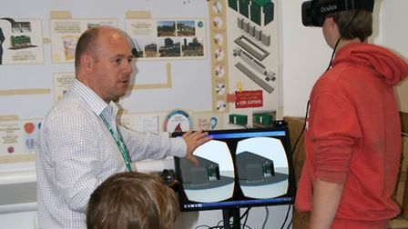 College of West Anglia students try out the Oculus Rift during an Anglian Water workshop