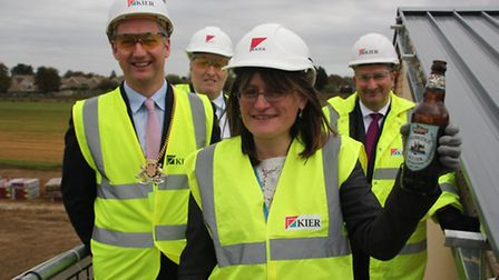 Isle of Ely topping out) From left:Sebastian Kindersley, Chairman CCC, Gary Pelle, CEO Active Learni