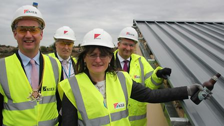 Isle of Ely School topping out ceremony ( From left:Sebastian Kindersley, Chairman CCC, Gary Pelle,
