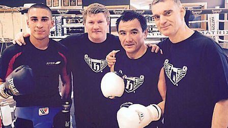 Jordan Gill at Ricky Hatton's gym in Manchester earlier today