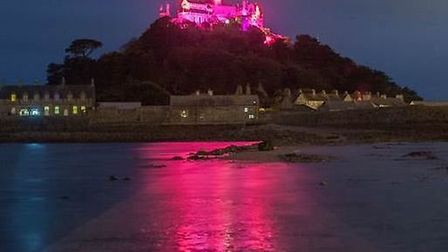 St. Michaels Mount's pink glow could be seen for miles around on Wednesday night