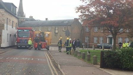Fire crews on the scene of a chemical spillage in Ely