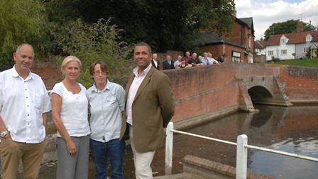 Bridge campaigners Peter and Mary Curry and Jane Welsh with Braintree MP James Cleverly,