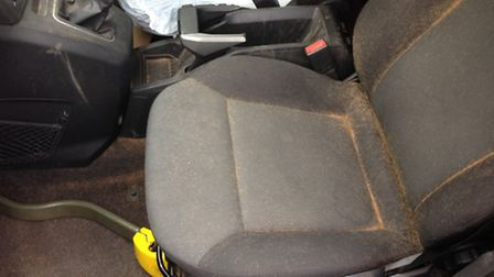 Photos taken by Murketts of Stapleford of the dog hairs inside the car