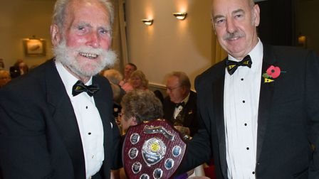 Bernard Keane, the Middle Level Waterman's Club president (left) receives the Clubman of the Year aw