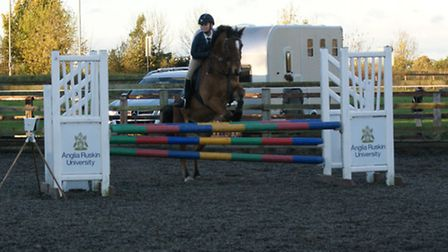 Katie Cameron on Dundee Spirit at the Show Jumping County Qualifier, held at the College of West Ang