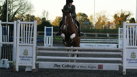 Freia Gould on Narra at the Show Jumping County Qualifier, held at the College of West Anglia in Mil