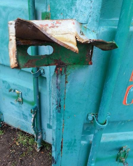 The lock which was keeping the lawnmower safe