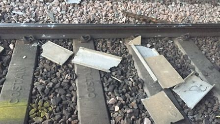 A train struck concrete blocks placed on the tracks under Frank Perkins Parkway Flyover on the Marc