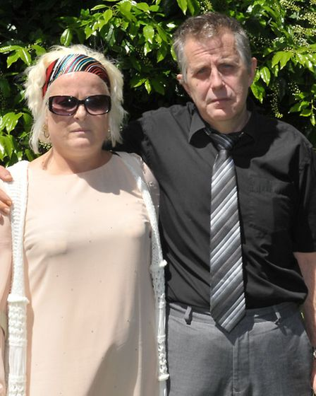 Ruth Neave and husband Gary Rogers after the meeting with detective superintendent Paul Fullwood. Pi