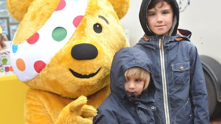 BBC Radio Cambridgshire visit Ely Market Place, with Pudsey, and (l-r) Casper, and Jacob, from Fordh