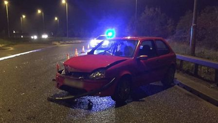 The vehicle involved in an accident on the A47 Thorney bypass last night.