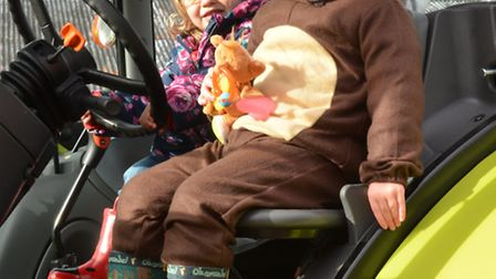 South Angle Farm Park, Soham, Halloween Special, (l-r) Fiona, and Thora, from Ely, get a tractor rid
