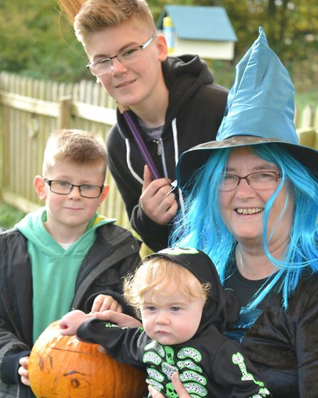 South Angle Farm Park, Soham, Halloween Special, (l-r) Charlie, and Harry from Burwell, baby Teddy,