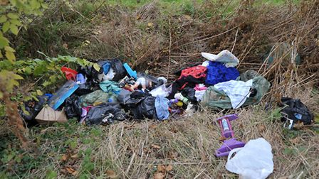 An example of fly-tipping, which has cost Cambridgeshire authorities over £490,000. Picture: Steve W