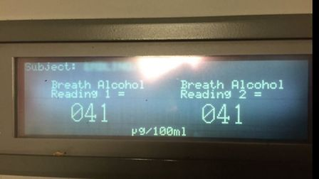 The breathalyzer reading of a man who was arrested and charged for drink driving last night