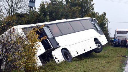 The coach in the ditch on the side of the A141 near March.