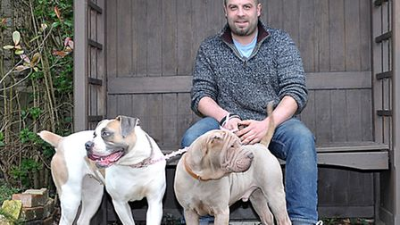 The Pet Shop Discount Warehouse. Rob Phipps with Winston and Xena.