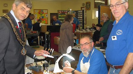 M&DMRC Open Day. Left: March mayor Rob Skoulding,Ryk Parkinson painting figures and Keith Sharp sta