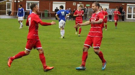Billy Smith celebrates his goal for the Fenmen on Saturday