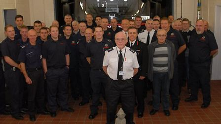 Les Fuller says goodbye to his crew after nearly 40 years of firefighting in Cambridgeshire.