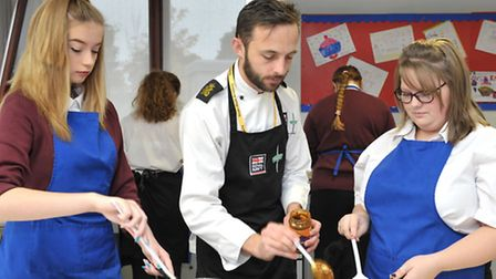 Royal Navy chef visited Neale Wade Academy and ran some cooking sessions with students. Year 11 stu