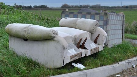 Fly tipping at Queen Adelaide Way, Ely. Picture: Steve Williams.