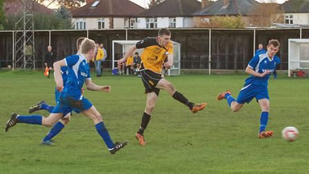 Action from March Town's win over Team Bury