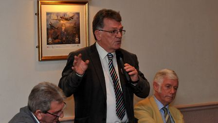 Cambs Times editor John Elworthy who chaired a public meeting to discuss Estover playing fields.Pict
